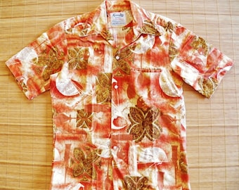 Mens Vintage 60s Keone Sportswear for Men of Action Liberty House Bark Cloth Tiki Hawaiian Shirt - S - The Hana Shirt Co