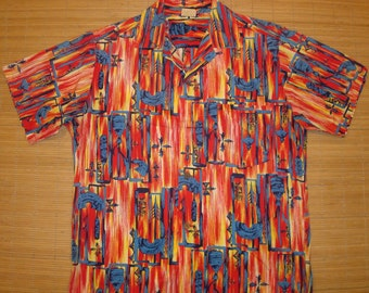 Mens Vintage 50s HALE HAWAII Kahili Feather Cape Hawaiian Aloha Shirt - M - The Hana Shirt Co