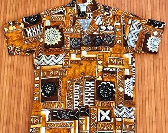 96df2b96 Men's Vintage 60s-70s Paradise Hawaii Bark Cloth Brown Tapa Aloha Shirt-L-The  Hana Shirt Co