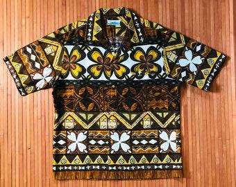 Men's Vintage 60's Penneys Hawaii Tapa Treasure Aloha Shirt-L-The Hana Shirt Co