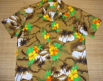 Vintage 70s Floral Palm Hawaii Aloha Hawaiian Shirt - L -The Hana Shirt Co