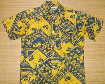 Mens Vintage 70s Hawaiian Surf Cotton Mod Tribal Tapa Aloha Shirt - S - The Hana Shirt Co