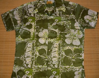 Mens Vintage 70s Kamawhanee Hawaiian Aloha Shirt - L - The Hana Shirt Co