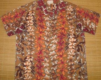 Mens Vintage 50s Royal Flower Lei Hawaiian Aloha Shirt - L - The Hana Shirt Co