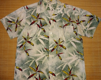 Mens Vintage 50s Malihini Bamboo Hawaiian Shirt - L - The Hana Shirt Co