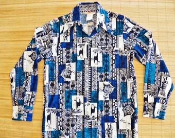 Men's Vintage 70s Long Sleeve Hawaiian Aloha Shirt - S -The Hana Shirt Co