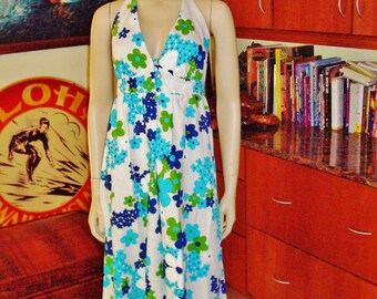 Vintage 60s Nalii Honolulu Halter Summer Fun Rockabilly Hawaiian Dress - S - The Hana Shirt Co
