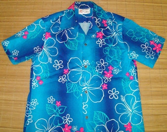 Mens Vintage 60s Royal Hawaiian Ocean Blue Surf Bark Cloth Floral Shirt - S - The Hana Shirt Co