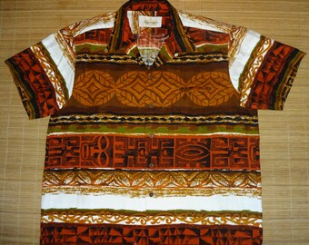 Men's Vintage 60s Kamehameha Tribal Isle Hawaiian Shirt - XL - The Hana Shirt Co