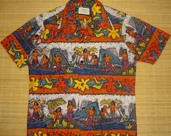 Mens Vintage 70s HRH Island Life Tribal Tiki Surf Hawaiian Aloha Shirt - M -  The Hana Shirt Co