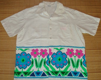 Mens Vintage 60s Barkcloth Psychedelic Flower Power Hawaiian Shirt - L - The Hana Shirt Co