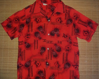 Mens Vintage 60's Lava Pineapple Hawaiian Aloha Shirt - M -  The Hana Shirt Co