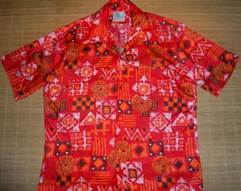 Vintage 70s Clipper Club Tribal Red Eye Aloha Hawaiian Shirt - L -The Hana Shirt Co