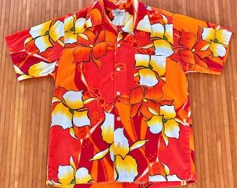 Mens Vintage 60s-70s Hukilau Fashions Tropical Tantrum Hawaiian Shirt-M-The Hana Shirt Co