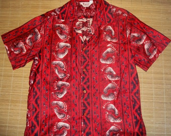 Vintage 60s Mod Don Loper Bark Cloth Tiki Surf Hawaiian Shirt - M - The Hana Shirt Co