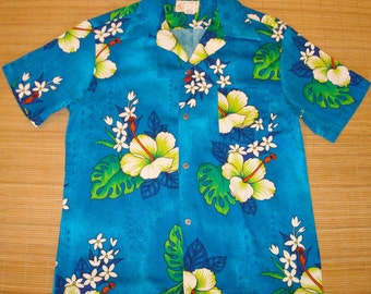 Mens Vintage 60s Royal Hawaiian Hibiscus Floral Elvis Hawaiian Shirt - XL - The Hana Shirt Co