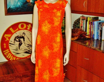 Vintage 60s Hawaiian Dress by Tiare Hawaii Mod Soft Barkcloth - S/M - The Hana Shirt Co