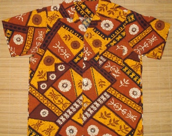 Mens Vintage Tribal Tapa Tiki Hawaiian Aloha  Shirt - S - The Hana Shirt Co