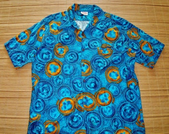 Vintage 60s Barefoot In Paradise Hawaiian King Kalakaua Coins Shirt - XL - The Hana Shirt Co