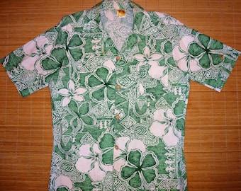 Men's Vintage 70s Hang Ten Feet Hawaiian Aloha Shirt - M - The Hana Shirt Co