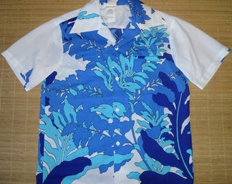 Mens Vintage 70s Barefoot In Paradise Hawaiian Aloha Shirt - M - The Hana Shirt Co