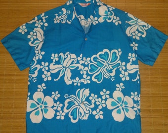 Mens 60s Vintage Sears Blue Hawaii Elvis Hawaiian Shirt - L - The Hana Shirt Co