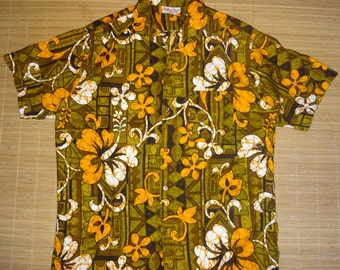Mens Vintage 60s Barefoot Hawaiian Aloha Shirt - L - The Hana Shirt Co