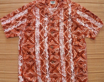 Mens Vintage 60s Waikiki Wear Hawaiian Tribal Tiki Aloha Shirt - S - The Hana Shirt Co
