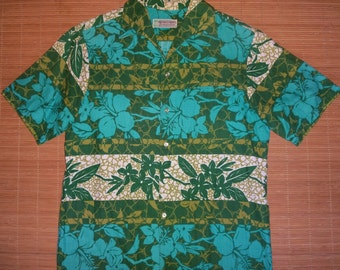 Mens Vintage 70s Waltah Clarkes Hawaiian Aloha Shirt - S - The Hana Shirt Co
