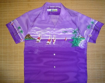 Mens Vintage 80s Sailing Diamond Head Hawaiian Aloha Shirt - M - The Hana Shirt Co