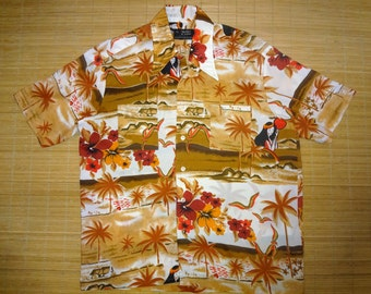 Mens Vintage 70s Vancourt Hula Moon Hawaiian Aloha Shirt - L - The Hana Shirt Co
