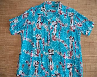 Mens Vintage 50s Native Warrior Blowing Conch Shell Hawaiian Shirt XXL 2XL The Hana Shirt Co