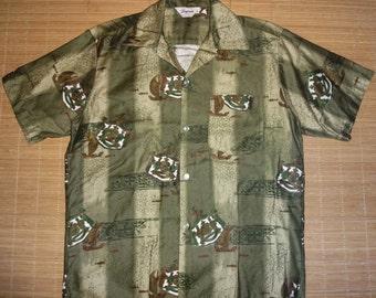 Vintage 1960s Tropicana Hawaii State Symbol Hawaiian Shirt - L - The Hana Shirt Co