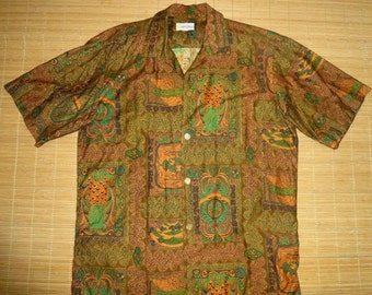 Mens Vintage 60s Andrade POSTAGE Stamp Tribal Tiki Hawaiian Aloha Shirt - L - The Hana Shirt Co