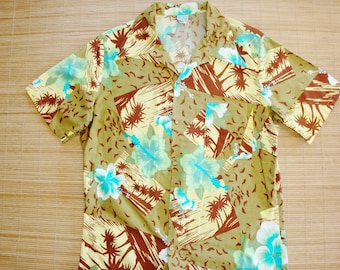 Mens Vintage 60s Mod Cal Surf Vintage Hawaiian Luau Hulikau Tiki Oasis Shirt - L - The Hana Shirt Co