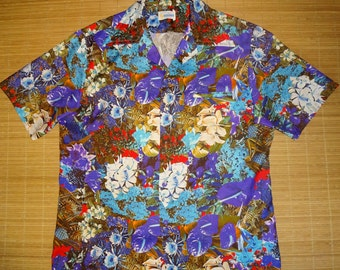 Mens Vintage 70's Andrade Photo Print Pineapple Hawaiian Aloha Shirt - L -  The Hana Shirt Co