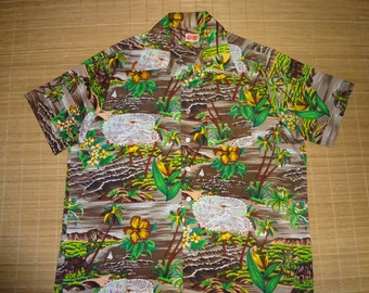 Men's Vintage 70s Barefoot Trader Net Fisherman Hawaiian Shirt - XL - The Hana Shirt Co