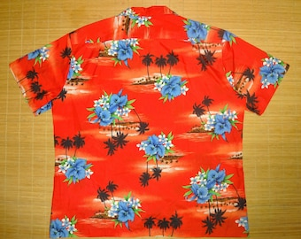 Mens Vintage 70s Royal Hawaiian Aloha Palm Shirt - XXL 2XL-  The Hana Shirt Co
