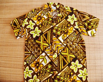 Men's Vintage 60s Luana Hawaiian Mod Luau Tribal Tapa Tiki Shirt - M - The Hana Shirt Co