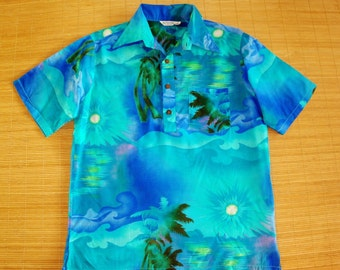 Mens Vintage Duke Kahanamoku Air Brushed Sunset Beach Hawaiian Shirt - XL - The Hana Shirt Co