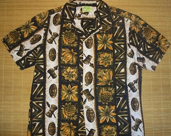 Mens Vintage 70s Ui Maikai Tiki Dudes Hawaiian Shirt - L - The Hana Shirt Co