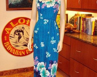 Vintage 60s Lauhala Sexy Bobmshell Cocktail Wiggle Long Hawaiian Sundress - S -  The Hana Shirt Co