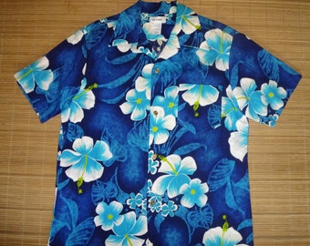 Mens Vintage 70s Rockabilly Elvis Floral Hawaiian Aloha Shirt - L - The Hana Shirt Co