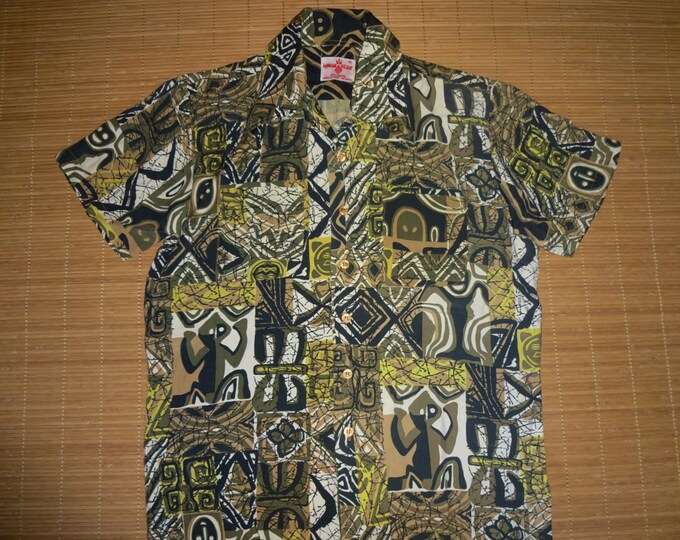 Featured listing image: Mens Vintage 60s Hawaiian Holiday Rayon Tiki Surf Shirt - M - The Hana Shirt Co