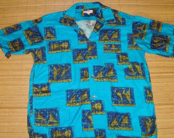 Mens Vintage 60s Made in Hawaii Native Sailing Canoes Hawaiian Shirt - L - The Hana Shirt Co