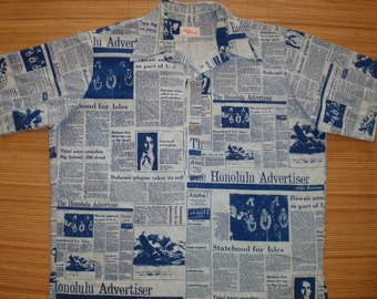 Mens Vintage 80s Hawaii's 25th Statehood Anniversary Hawaiian Aloha Tiki Shirt - XL - The Hana Shirt Co