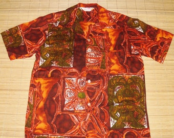 Mens Vintage 60s Reef Tribal Tiki Barkcloth Hawaiian Aloha Shirt - S - The Hana Shirt Co