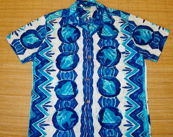 Mens Vintage 60s Malihini Blue Hawaii Hawaiian Tiki Surf Shirt - M - The Hana Shirt Co