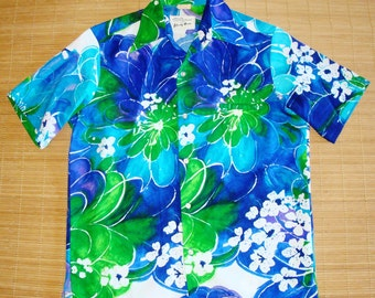 Mens Vintage 70s Liberty House Mod Surf Tiki Hawaiian Shirt - S - The Hana Shirt Co