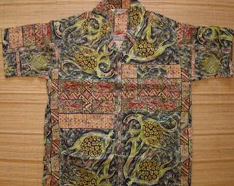 Men's Vintage 50s Lauhala DEAD STOCK Bread Fruit Cotton Hawaiian Aloha Shirt - S - The Hana Shirt Co
